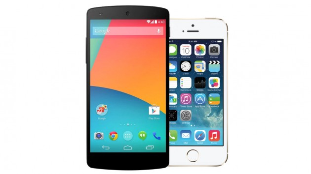 """Google Nexus 5"" ir ""iPhone 5S"""