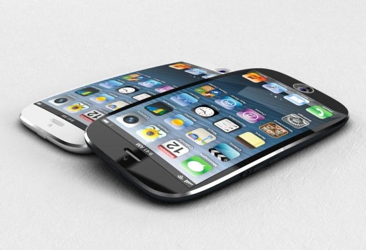 """iPhone"" su lenktu ekranu koncepcija"