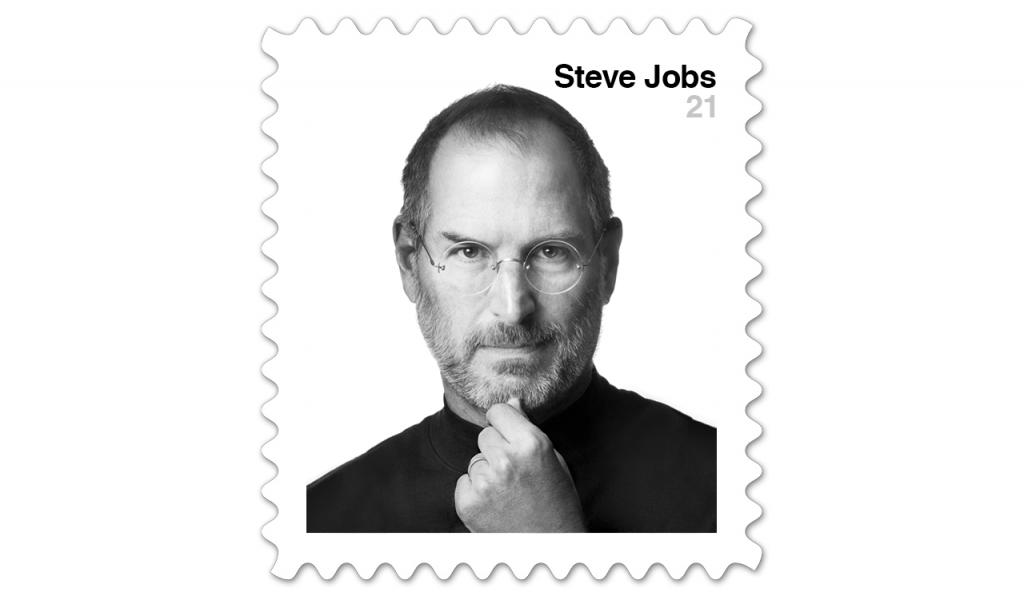 Prototipinis pašto ženklas su Steve'o Jobso atvaizdu