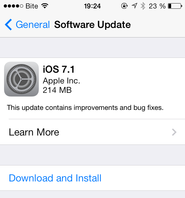 """""""iOS 7.1"""" atnaujinimas"""