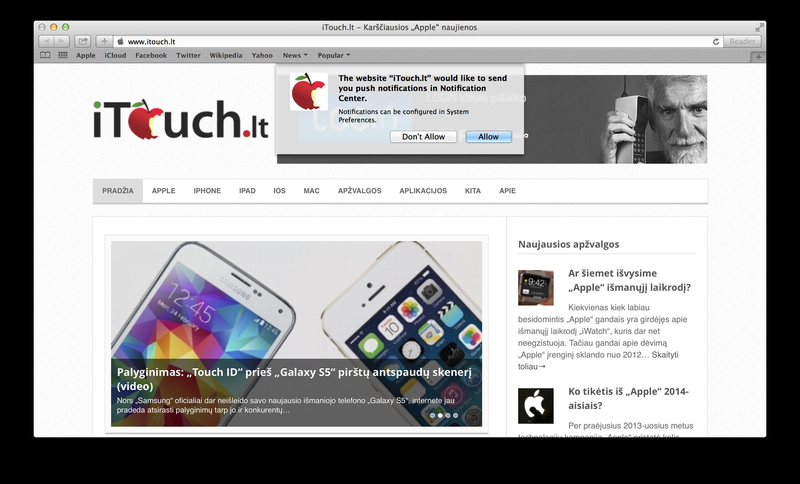 """iTouch.lt """"Push"""" pranešimų funkcija"""
