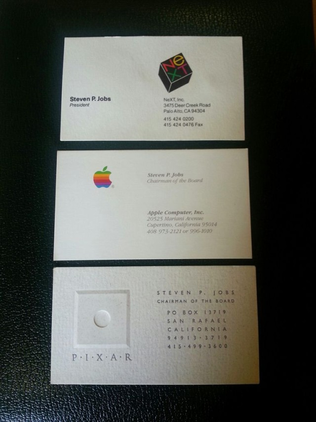 Steve'o Jobso vizitinės kortelės