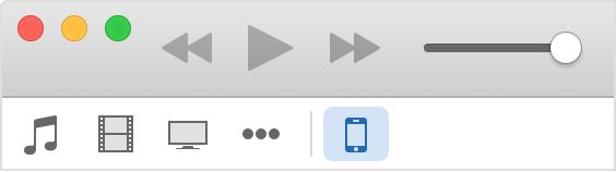Įrenginio pasirinkimas iTunes